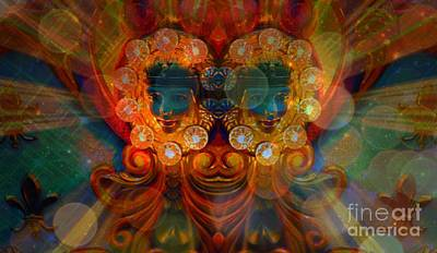 Digital Art - Carousel Faces, Twins by Annie Gibbons