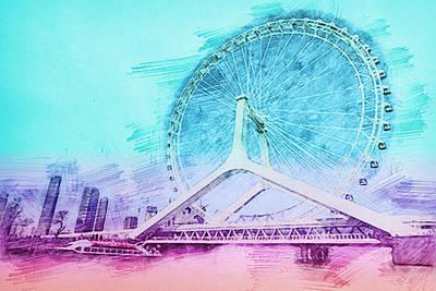 Ferris Wheel Drawing - Carousel Ferris Wheel Bridge by Nenad Cerovic