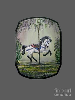 Carousel Garden The White Buckskin Stallion Art Print