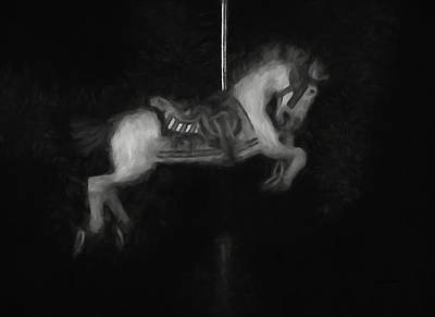 Digital Art - Carousel Horse Bw by Ernie Echols