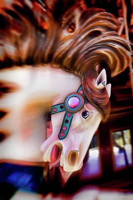 Carousel Horse Portrait Art Print by Garry Gay