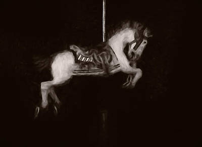 Digital Art - Carousel Horse Sepia by Ernie Echols