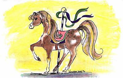 Animals Drawings - Carousel Horse by Vonda Lawson-Rosa