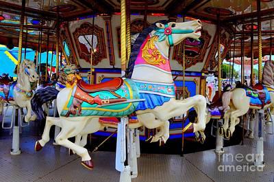 Sara Habecker Folk Print - Carousel Horse With Saddle by Mary Deal
