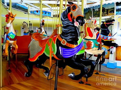 Digital Art - Carousel Horses #2 by Ed Weidman