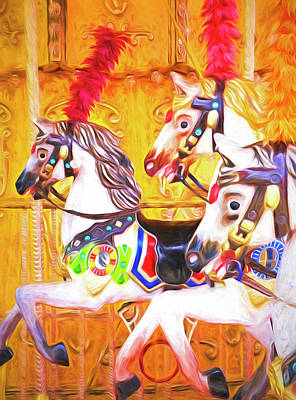 Photograph - Carousel Horses by Dennis Cox WorldViews