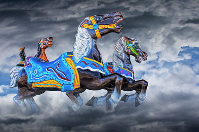 Photograph - Carousel Horses Galloping In The Clouds by Randall Nyhof