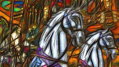 Carousel Horses Art Print by Jean-Marc Lacombe