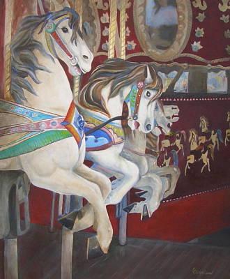 Carousel Horses Print by Linda Cleveland