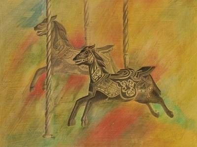 Drawing - Carousel Horses by Lynn Hughes