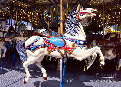 Photograph - carousel horses photography - Ready to Ride by Sharon Hudson