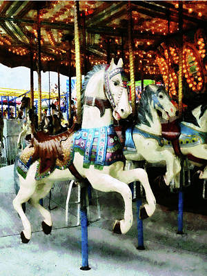 Photograph - Carousel Horses by Susan Savad