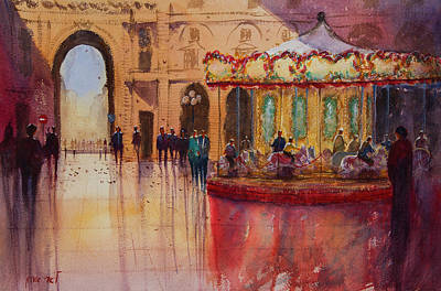 Painting - Carousel In Florence Italy by Lior Ohayon