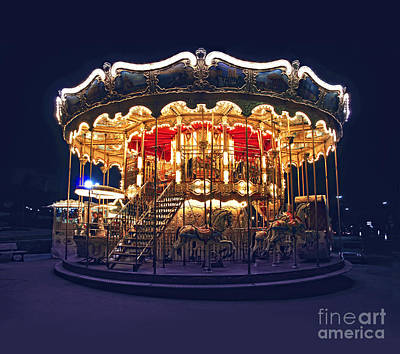Illuminated Photograph - Carousel In Paris by Elena Elisseeva
