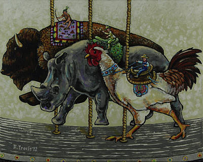 Indian Rhinoceros Painting - Carousel Kids 1 by Rich Travis