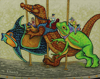 Riders Painting - Carousel Kids 3 by Rich Travis