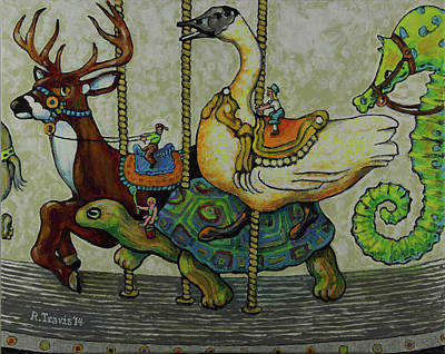 Painting - Carousel Kids 5 by Rich Travis