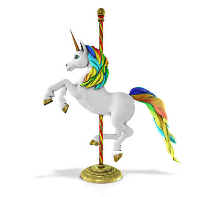 Digital Art - Carousel Unicorn by Frederico Borges