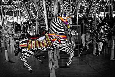 Photograph - Carousel Zebra Series 2222 by Carlos Diaz