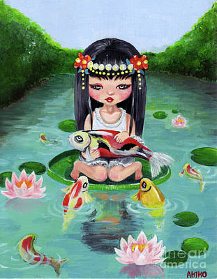 Painting - Carp And Girl by Akiko Okabe
