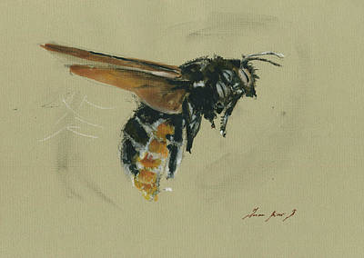 Bee Wall Art - Painting - Carpenter Bee by Juan Bosco