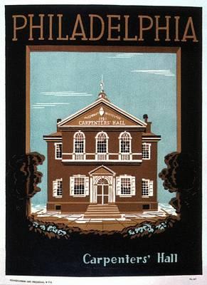 Mixed Media - Carpenters Hall - Philadelphia, Pennsylvania - Retro Travel Poster - Vintage Poster by Studio Grafiikka
