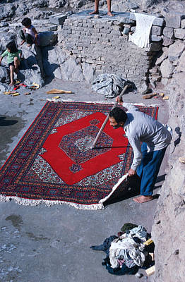 Persian Carpet Photograph - Carpet Cleaner In Iran by Carl Purcell