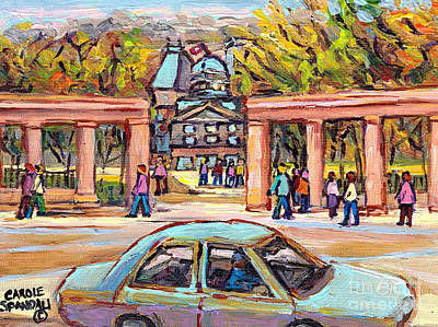 Painting - Carpool To School Mcgill University Roddick Gates Paintings For Sale Canadian Artist C Spandau Art by Carole Spandau