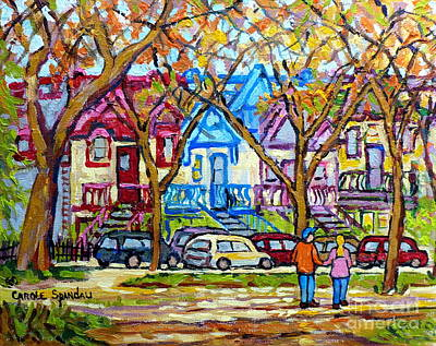 Painting - Carre St Louis Colorful Victorian Houses Plateau Mont Royal Park Scene Painting C Spandau Art        by Carole Spandau