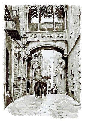 Mixed Media - Carrer Del Bisbe - Barcelona Black And White by Marian Voicu