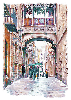 Gothic Mixed Media - Carrer Del Bisbe - Barcelona by Marian Voicu