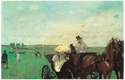 Horse Drawn Carriage Painting - Carriage At The Races by Edgar Degas