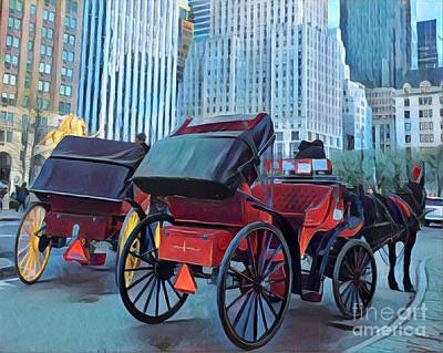 Photograph - Carriage Rides - Fifth Avenue New York                                     by Miriam Danar