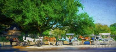 Donkey Digital Art - Carriages By Jackson Square-new Orleans by Kathleen K Parker