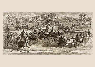 Drawing Of A Horse Drawing - Carriages In Central Park New York In by Vintage Design Pics