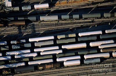 Carriages Of Freight Trains On A Commercial Railway Art Print by Sami Sarkis