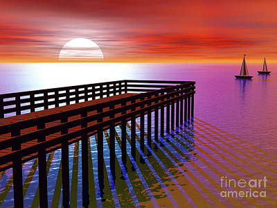Digital Art - Carribean Sunset Pier by Nicholas Burningham