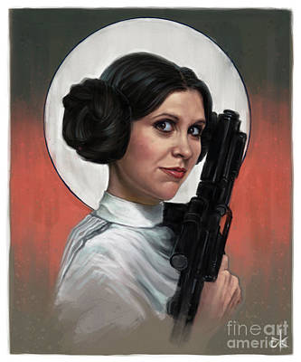 Digitalart Digital Art - Carrie Fisher by Andre Koekemoer