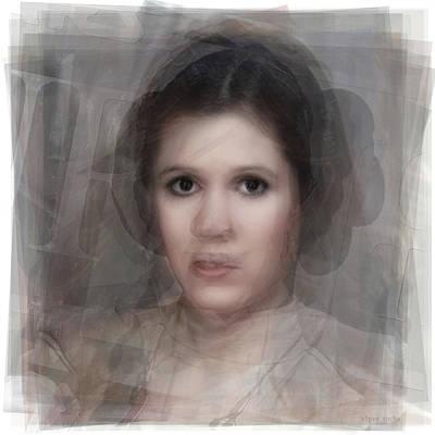 Hair Bun Digital Art - Carrie Fisher As Princess Leia Portrait by Steve Socha
