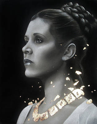 Gold Necklace Drawing - Carrie Fisher - Traditional Art Tribute by Alaina Ferguson