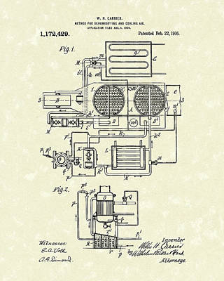 Carrier Air Conditioner 1916 Patent Art Art Print
