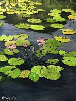 Painting - Carroll Creek Water Lilies by Ron Richard Baviello
