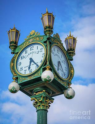 Photograph - Carrolls Jewelers Clock by Inge Johnsson
