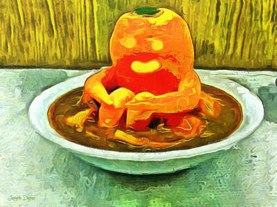 Culinary Painting - Carrot Bath Time - Pa by Leonardo Digenio