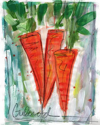 Mixed Media Rights Managed Images - Carrots Royalty-Free Image by Linda Woods
