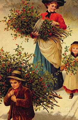 Christmas Eve Painting - Carrying Home The Christmas Holly by English School