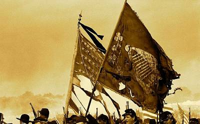 Carrying Their Colors - Sepia Print by Linda Allasia