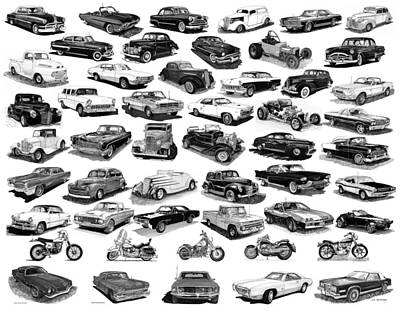 Drawing - Cars 46 Cars Pen Ink Cars Cars Motorcycles by Jack Pumphrey