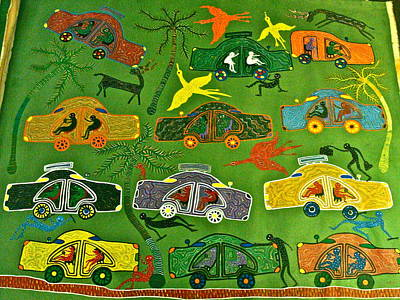 Gond Painting - Cars by Bhuri Bai