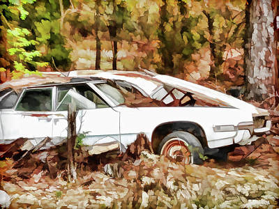 Old Junk Car Painting - Cars Left For Dead by Lanjee Chee